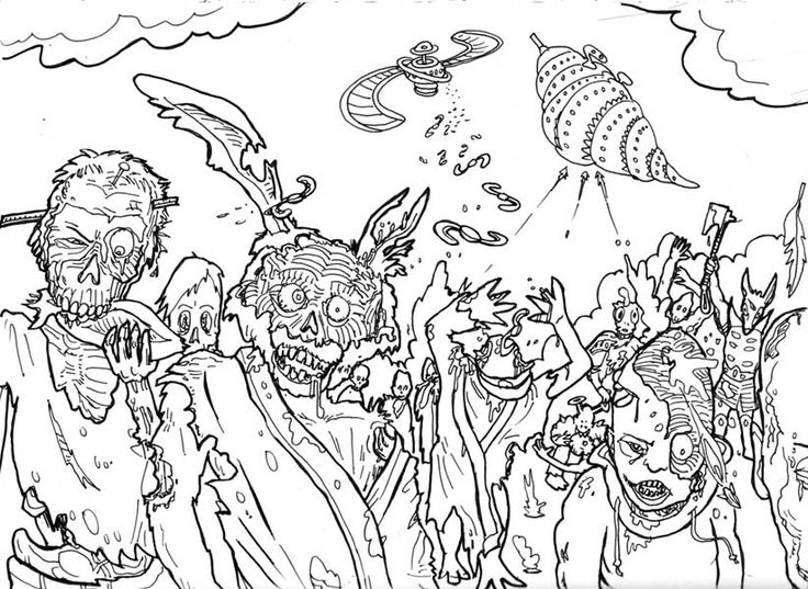 Zombie Halloween Coloring Pages For Teens Adults