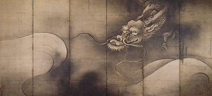 長谷川等伯 Tohaku Hasegawa『龍虎図屏風』右隻(1606)Museum of Fine Arts, Boston.