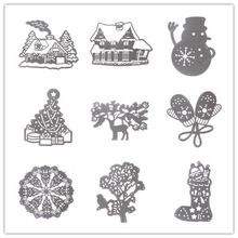 9 Estilo de Navidad de Metal de acero Al Carbono De Corte Muere Stencil Para DIY Artesanía Tarjeta de Álbum de Recortes De Papel Del Árbol de Navidad Caliente de la Casa diseño(China (Mainland))