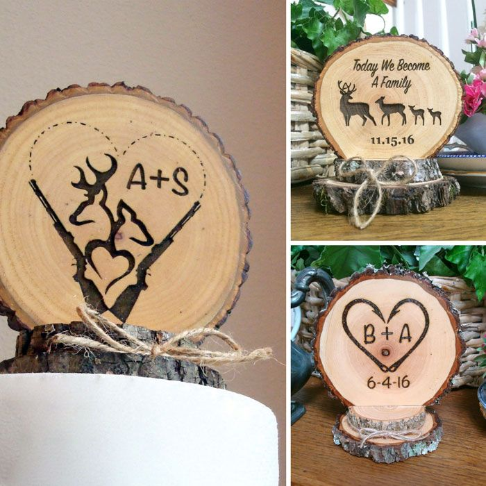 Personalized Rustic Wedding Cake Toppers