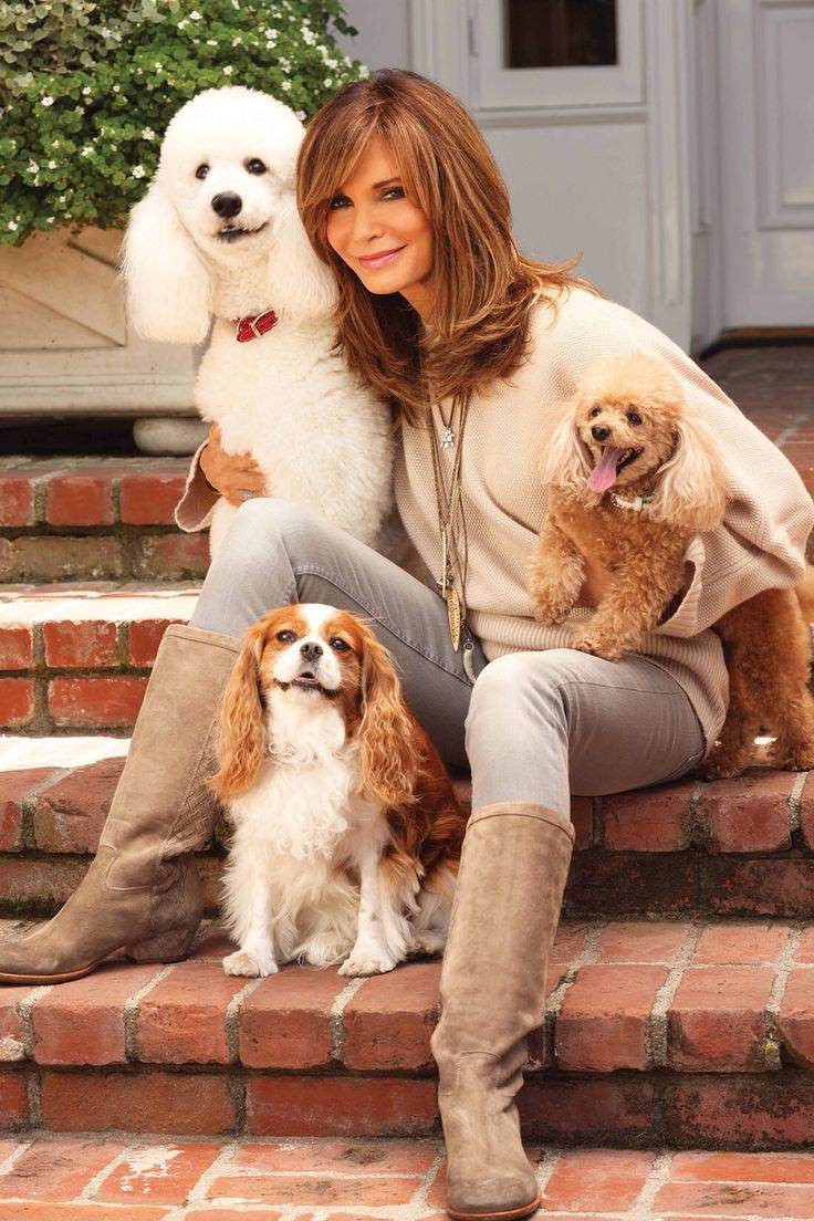 Jaclyn Smith with Elizabeth, Emma Jane and Honey Bun...her pets are keeping her young!