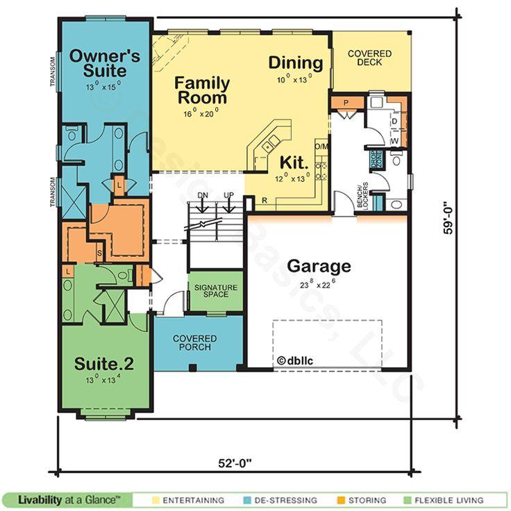 Simple Dual Owner Suite home plan