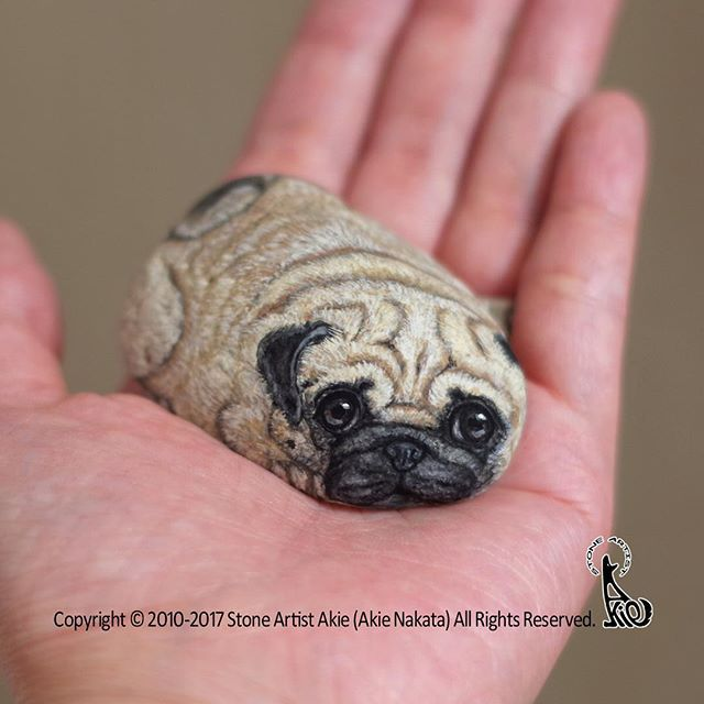 New Piece Completed Sweet Face Pug Painted On Natural Shape Stone