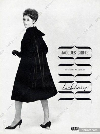 Jacques Griffe 1962 Manteau en velours, Photo Seeberger