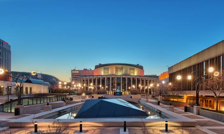 Wilfried Pelletier and Esplanade of Place Des Arts, Quartier des Spectacles. Photograph: David Giral/Alamy