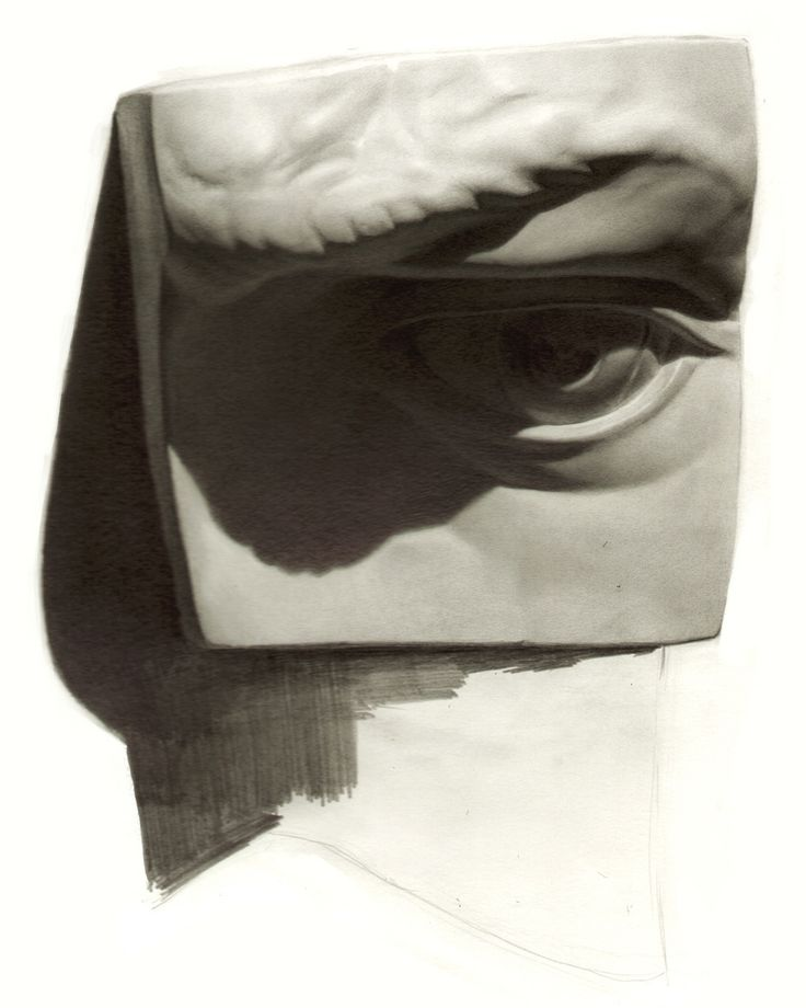 drawing plaster model of the eye, plaster cast