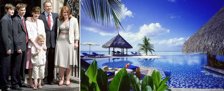 Former British Prime Minister Tony Blair and Family Holidays in Maldives