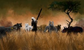 Image from http://vignette3.wikia.nocookie.net/malazan/images/6/66/Hounds_v_Rake_dA.jpg/revision/latest/scale-to-width/295?cb=20141030122341.