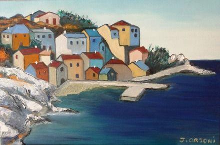 Peinture paysage du port de Porto en Corse  : Peintures par j-orsoni