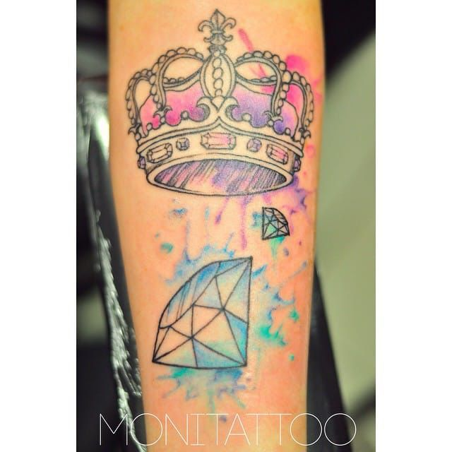 Crown And Diamond Tattoo Watercolor Tatted Up Beautiful3