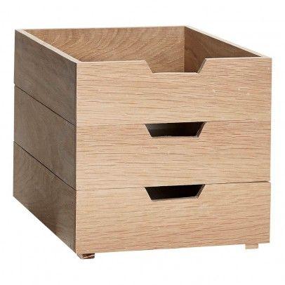 Boîtes de rangement empilables en chêne - Set de 3 Blanc  Hübsch