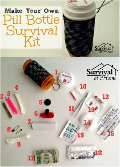 Survival Kit You never want to think that you'll be in a position where you're lost in the woods, but if you're a regular outdoors(wo)man, then this handy little kit could very well save your life, or at the very least, save you some pain or infection. I'm truly amazed at just how much can fit into that small bottle!