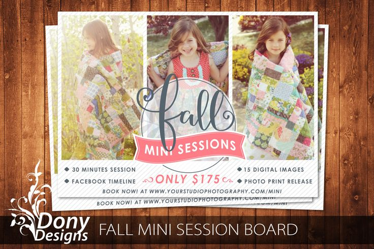 Fall Mini Session Photoshop template, Outdoor Mini Session Photography Marketing board -  Instant Download BUY 1 GET 1 FREE : ms-499 by DonyDesigns on Etsy