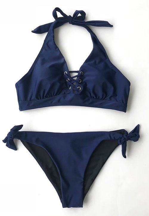 Worrying about beachlook? Cupshe Graceful Bearing Lace Up Bikini Set is available for swimming, surfing and paddling! Lace up & tie design. Super pretty and flattering. FREE shipping. SHOP NOW.