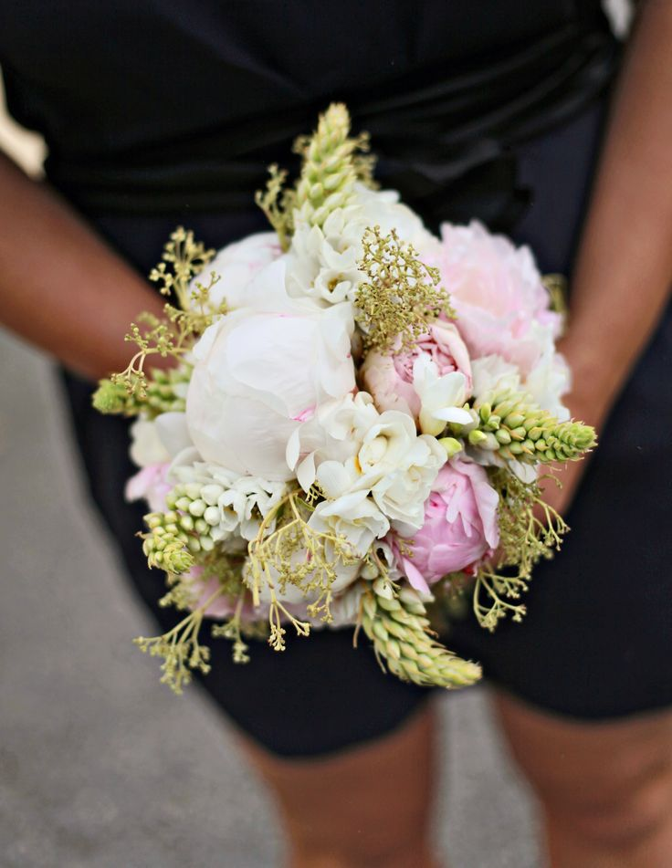 Bridesmaids' pink, white and green bouquet. Spring wedding, peonies.