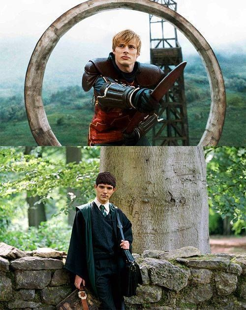 HP/Merlin crossover! I LOVE it. but Merlin would be awesome in Slytherin kind but cunning. Arthur obviously Gryffindor. Gwen definitely Hufflepuff and Mordred and nice Morgana in Ravenclaw.