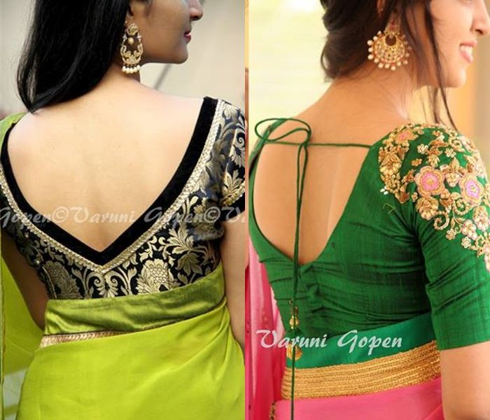 Looking for latest blouse back neck designs for silk sarees