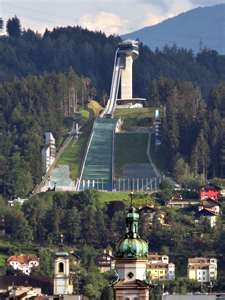Olympic Ski Jump Innsbruck, Austria  Part of view from my hotel room.