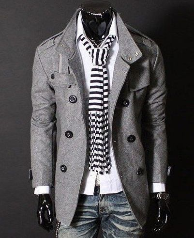 Modern Gray Cotton Blend Men's Pea Coat