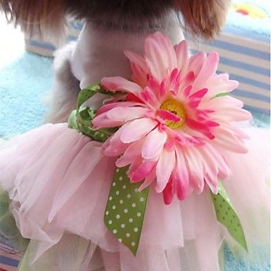 New Pet Clothes Puppy Clothing Dog Princess Dress With Sunflower Shirt For Pet Dogs M-XXL - USD $ 18.19