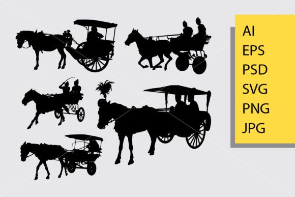 Horse Carriage Silhouette Graphic By Cove703 Creative Fabrica Horse Carriage Silhouette Graphic Illustration