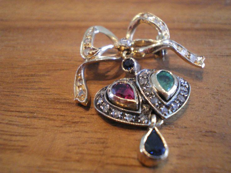 GOLD 585 Um 1890 Brosche,Kette,Schleife,Diamanten,Smaragd,Rubin,Saphir,Jugendst. | eBay