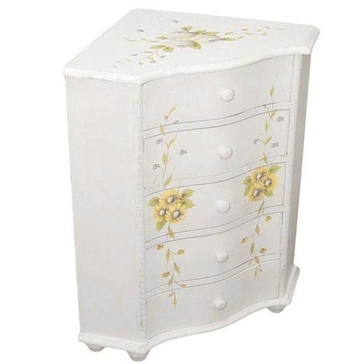 Heute präsentieren wir eine schöne Eckkommode.  Kollektion der Möbel Rosanna erinnern an die alte Französisch Interior Design.  Die Möbel sind aus Holz, weiß lackiert und mit gemalten Blumenmotiven verziert. #Eckkommode #Möbel #Design #Holz #Blumenmotive #Kollektion