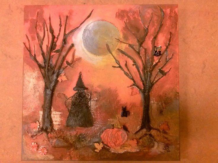 Halloween: schilderij van acrylverf met oa. muurvuller, takjes, hete lijm, fimoklei.  Zie ook www.atelierbandb.nl