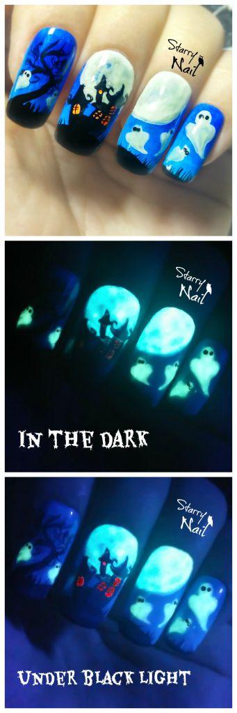 Glow in the Dark Haunted House Halloween Nail Tutorial!