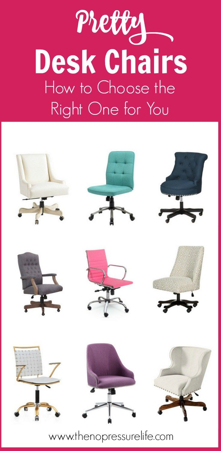 Learn how to choose a functional and feminine desk chair for your home office or craft room! These desk chairs for women are pretty and practical! | The No Pressure Life