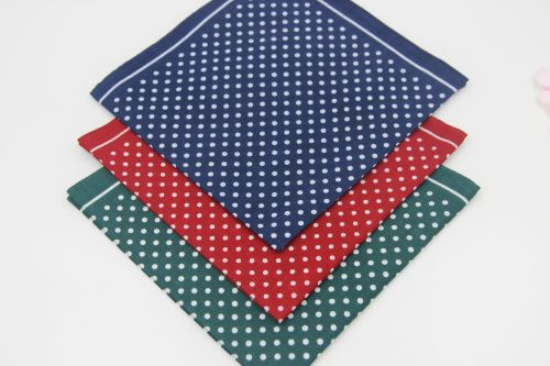 (3pcs/lot) / Women Men Vintage Polka Dots Thin Handkerchiefs 40cm / 100% cotton 42's wholesale