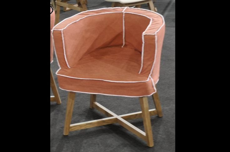 custom made dining chair, made of solid oak and fabric, interior design, small armchair