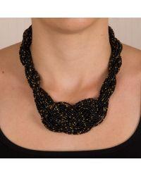 Siyah Sarı Boncuklu Örgü Kolye    #orgu #braid #plait #necklace #black #siyah #altın #altin #chic #fashion #style #stil #moda #modavapuru #bead #glassbead