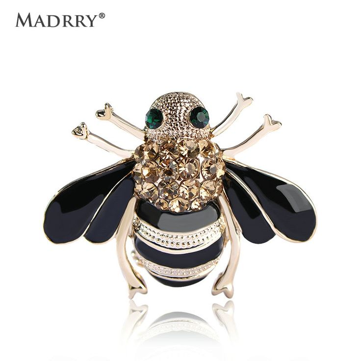 4.18$  Know more - High Quality Bee Brooches Enamel Esmalte Broches Gold Color Champagne Rhinestone Hijab Pins juego de tronos Halloween joyas   #buychinaproducts