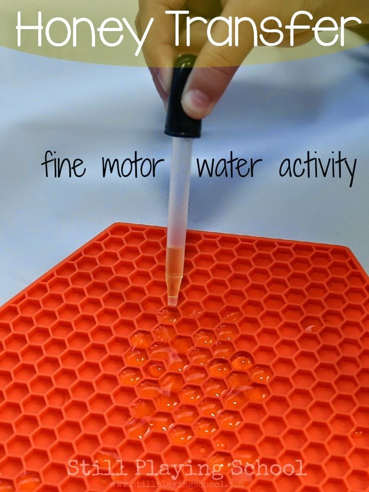 Still Playing School: Honey Transfer: A Fine Motor Water Activity