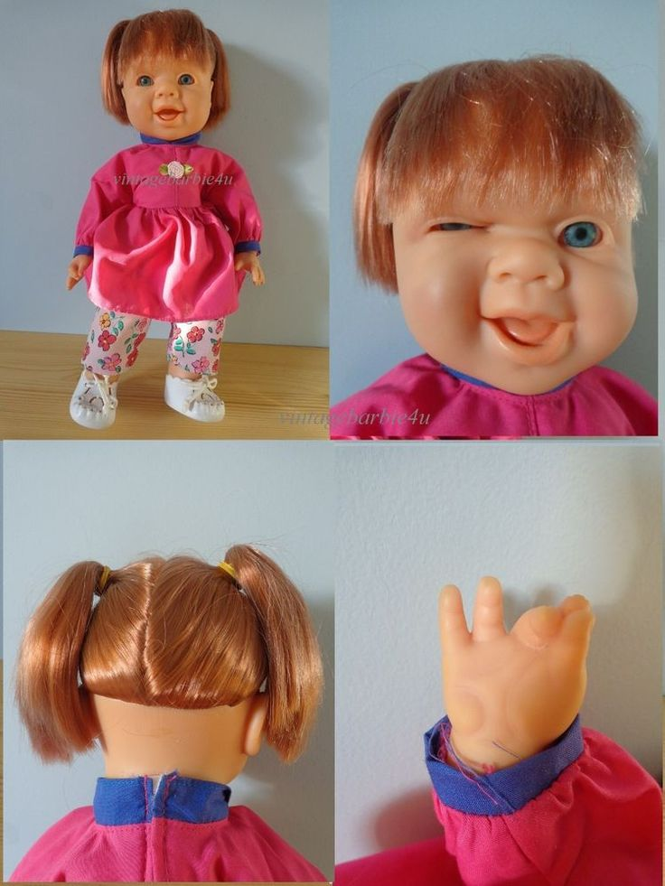 RARE Winking 14 Doll Girl Famosa Original Outfit Red Hair Pig Tails  ***Spain