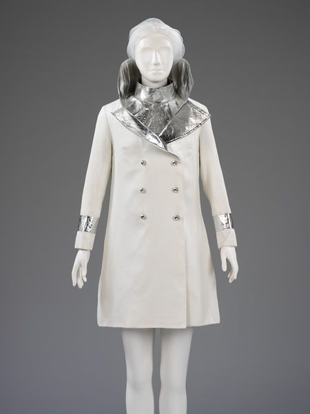 The fashion journalist Marit Allen wore this dramatic white gabardine and silvered PVC mini-dress and coat ensemble when she married the fil...