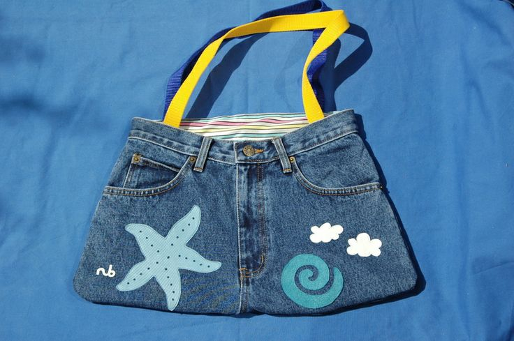Seestern+Jeans/+Leder+Hosen-Tasche++von+Nina+Broja+Design+auf+DaWanda.com