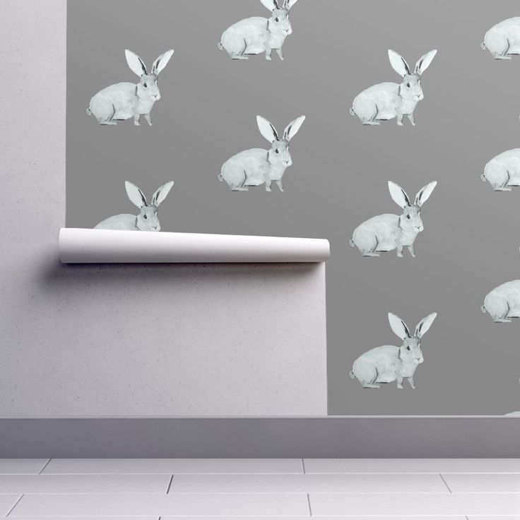 Isobar Durable Wallpaper featuring Bunny Grey by traceyharveydesigns | Roostery Home Decor