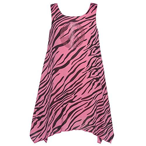 Lipstik Pink Black Animal Print Sequin Peace Sign Tank Dress Girls 5 * See this great product.