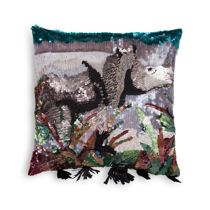 Rhino Safari | Decorative Cushion | Talk about camouflage. Multiple embroidery techniques blend in discreetly with sequins, paillettes and stones to set this majestic animal on silk taffeta.