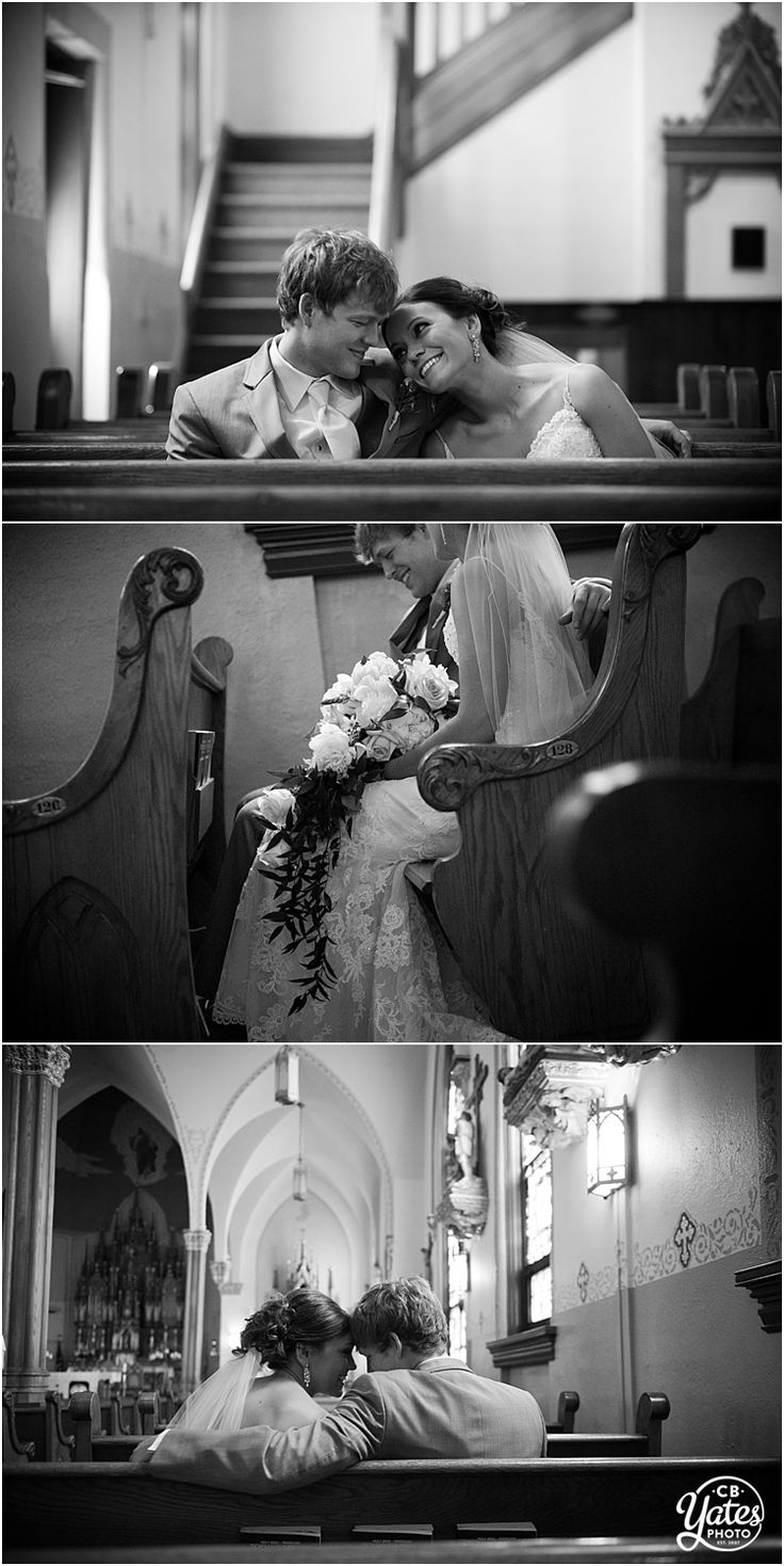 First Look Bride Groom Old Church Pew Quiet Time Romantic Black and White © cb Yates Photography -Omaha, Gretna, Lincoln and surrounding Nebraska areas Wedding Photographer