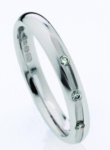 Bague de Mariage/Alliance Femme 3mm Or Blanc 750/1000 et Diamant Brillant 0.06 Carat 3,8 Grammes Taille 48.5