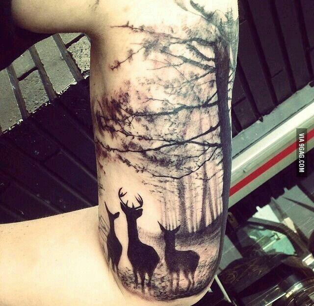 .deer trees tattoo