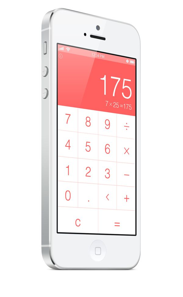 My own personal work. iPhone 5 Calculator UI – Simplicity by Cherise Denise Randle, via Behance.