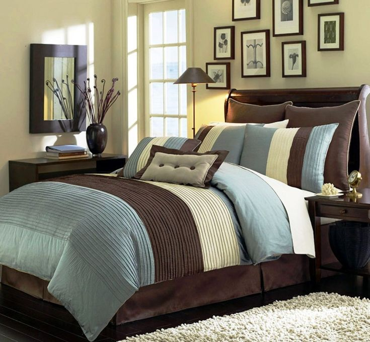 "Amazon.com: 8 Pieces Blue Beige Brown Luxury Stripe Comforter (90""x92"") Bed-in-a-bag Set Queen Size Bedding: Home & Kitchen"