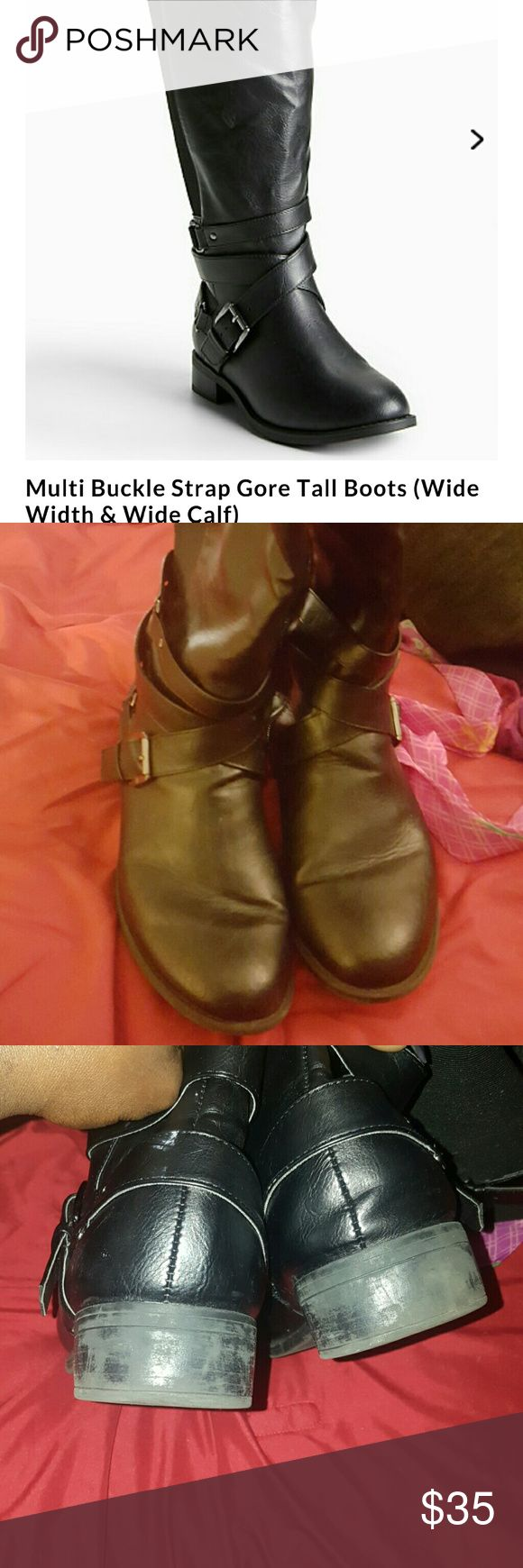 Multi Buckle Strap Gore Tall Boots size 11 used still available on website for 70 torrid  Shoes Over the Knee Boots