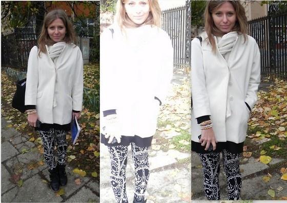 Zara Black And White Patterned Pants, Zara White Coat, Cashmere Shawl, Moschino Black Bag aaibucketlist.wordpress.com/2012/11/14/black-and-white-patterns/