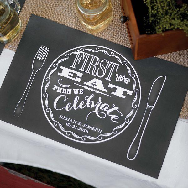 Personalized Chalkboard Style Place Mats Set Of 50 Wedding Placemats Chalkboard Style Placemats
