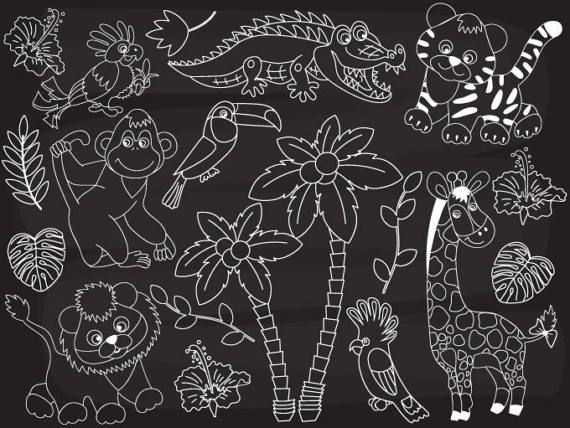 ❤ More Jungle Animals Clipart can be found here: http://etsy.me/2ojyb7e  ❤ More Chalkboard Clipart can be found here: http://etsy.me/2o3ZJ3G  ITEM: Chalkboard Jungle Animal... #thecreativemill